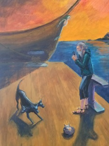 HuberJennifer_Charon Checking His Texts_Acrylic_20x30