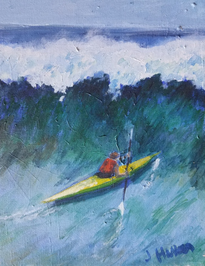 kayaker in waves_oil