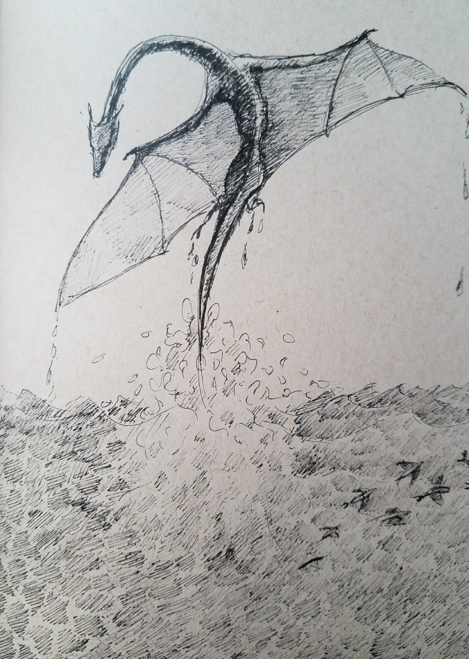 dragon emerging from sea