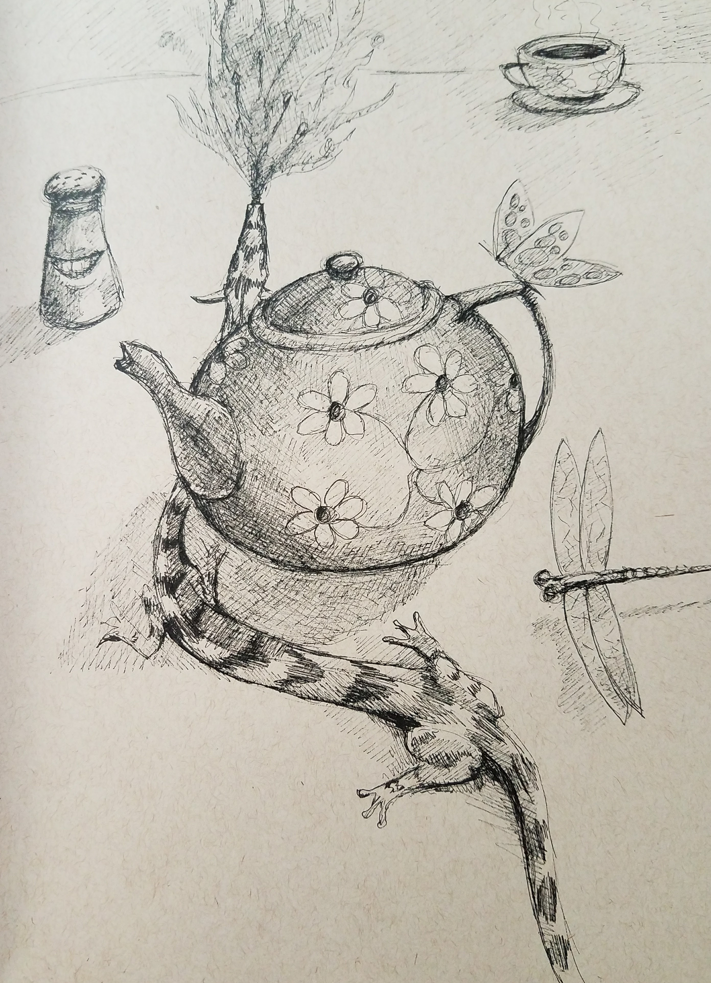 tiny dragon with tea