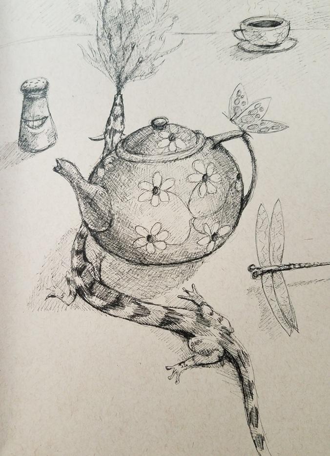 tiny dragon with tea