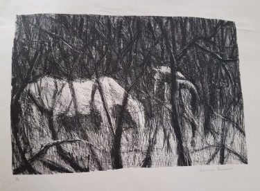 Lithograph of Horses in Winter Wood: using litho crayon and razor blade.