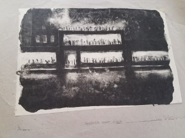 Lithographic printing using lots of litho wash and a little crayon. Notice the edge of the stone down by the signature line. This is also Chine Colle, pasting a smaller piece of paper under the image.