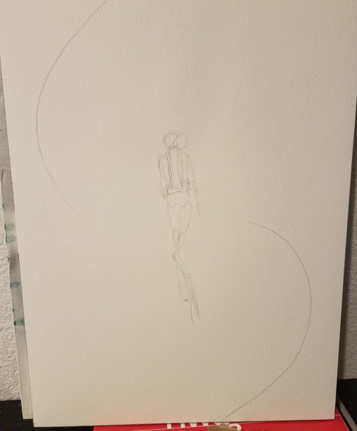 Loose pencil drawing of diver with two arcs showing movement on either side of him.