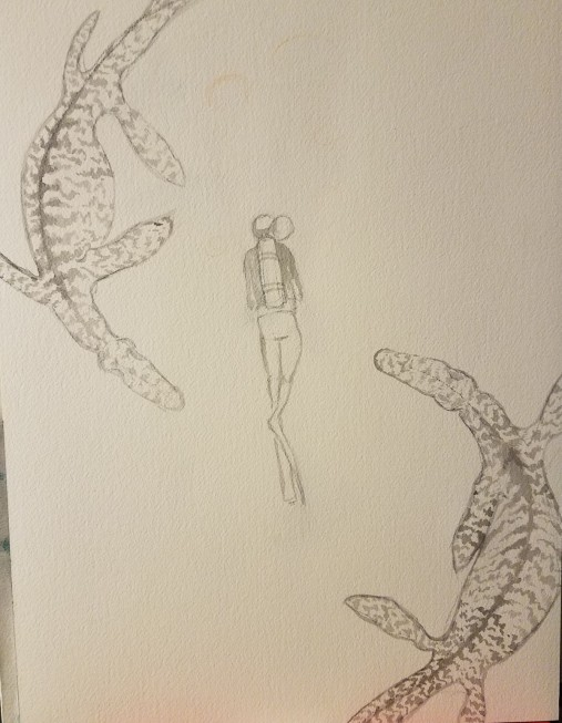 Mosasaurs now have tiger patterns and the diver is shaded, more details added.
